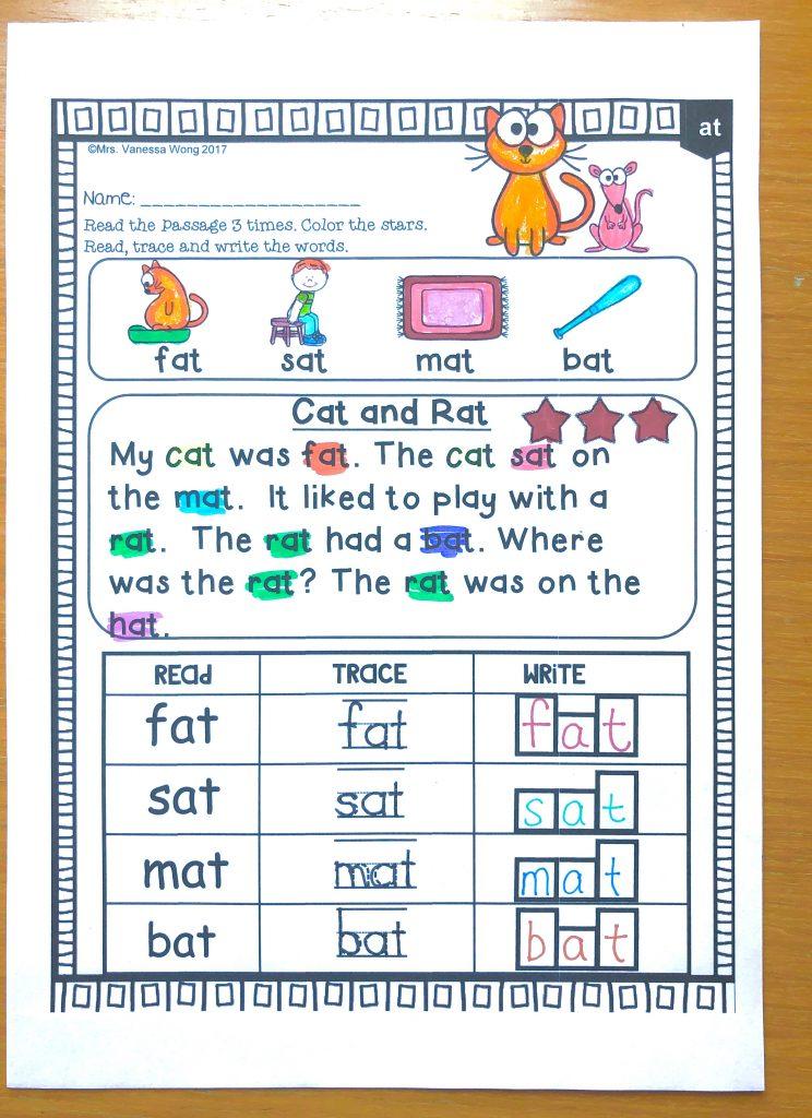 Phonics short vowel comprehension
