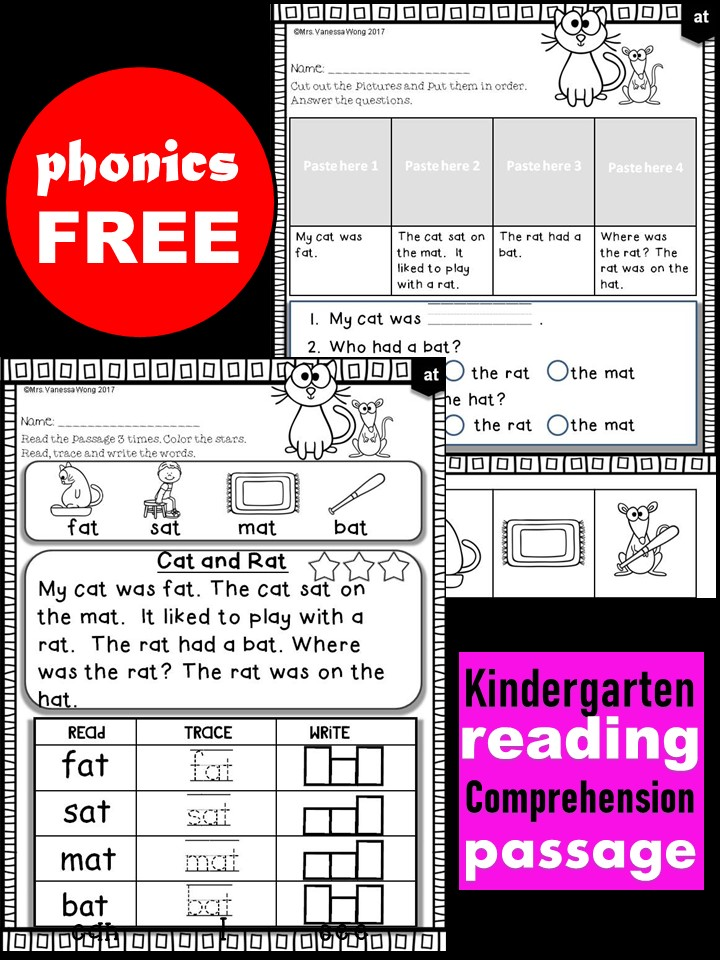 Free Phonics Reading Comprehension Passages And Activities Short Vowel -  Mrs Vanessa Wong