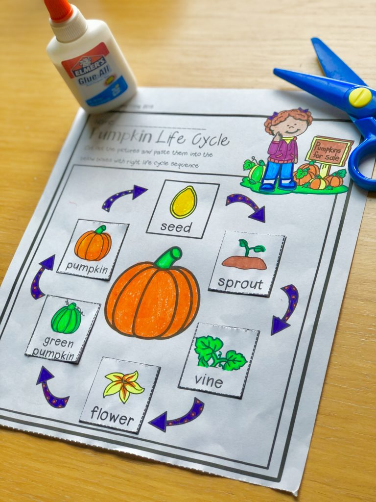 Fall kindergarten math and literacy activities and worksheets