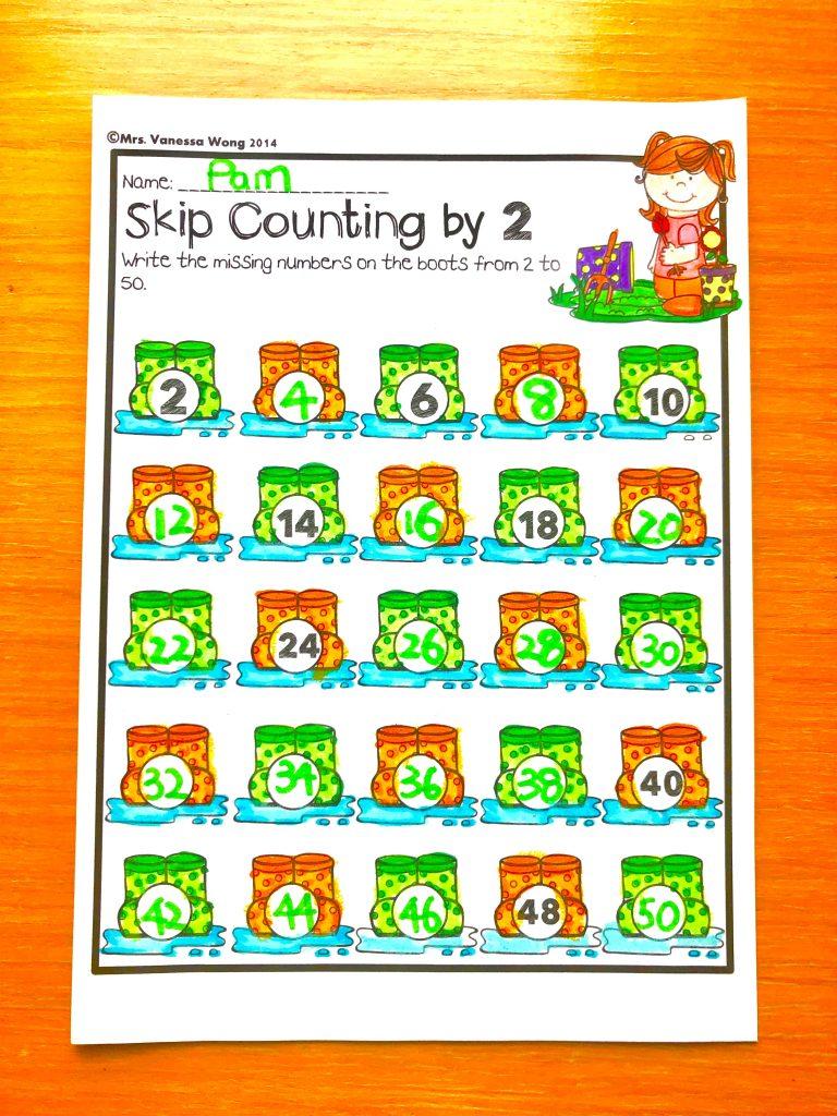 Spring math skip counting