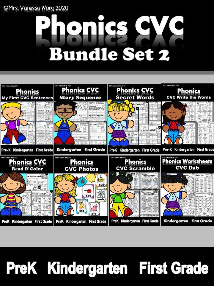 phonics worksheets cvc bundle 2