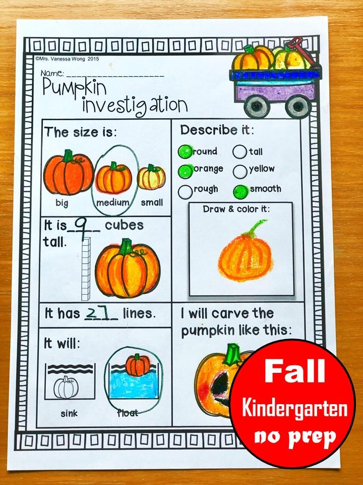 fall kindergarten worksheet