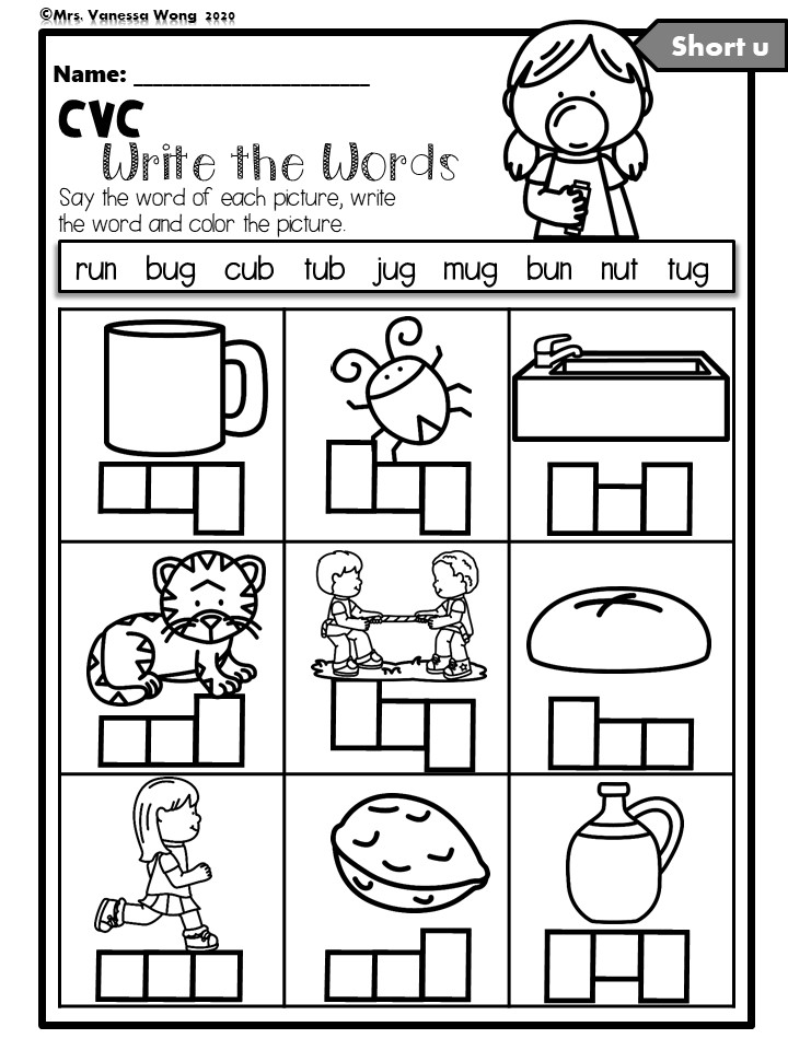 Phonics worksheets read and write