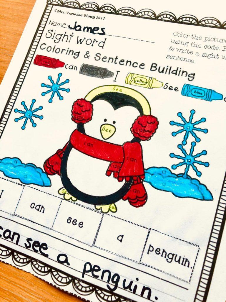 winter kindergarten worksheets