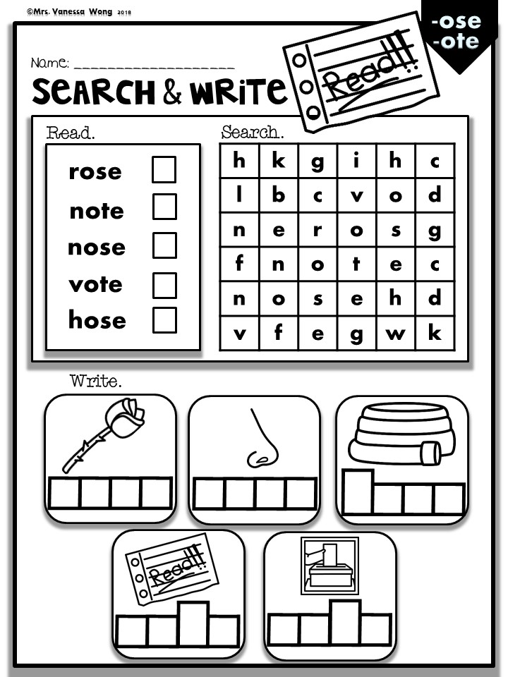Phonics worksheets. CVCe Long vowel