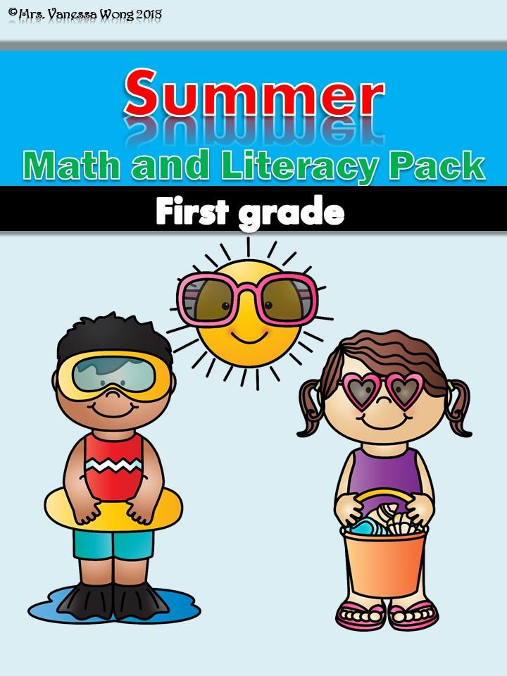 Summer Math and Literacy No Prep first grade