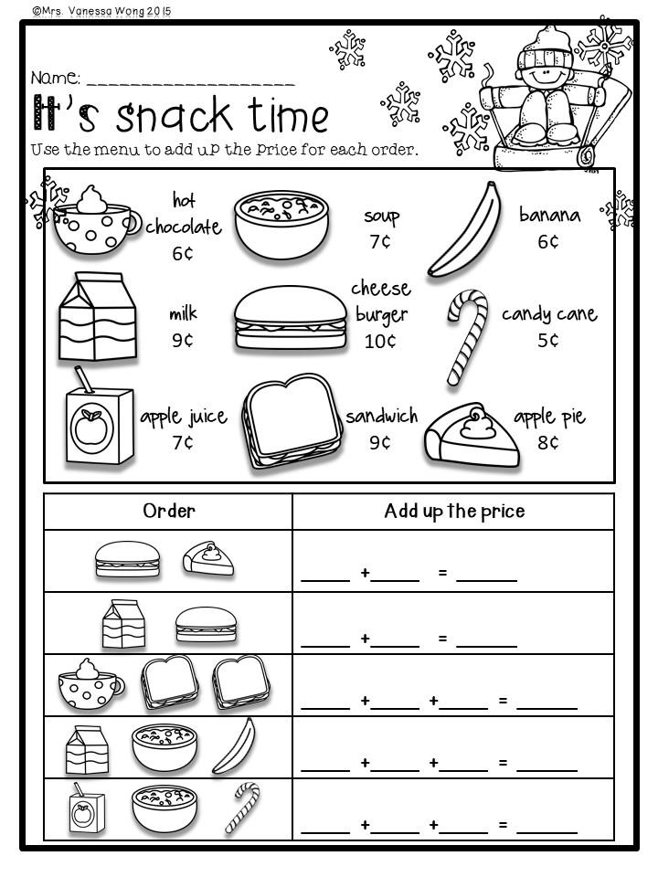first grade math and literacy worksheet