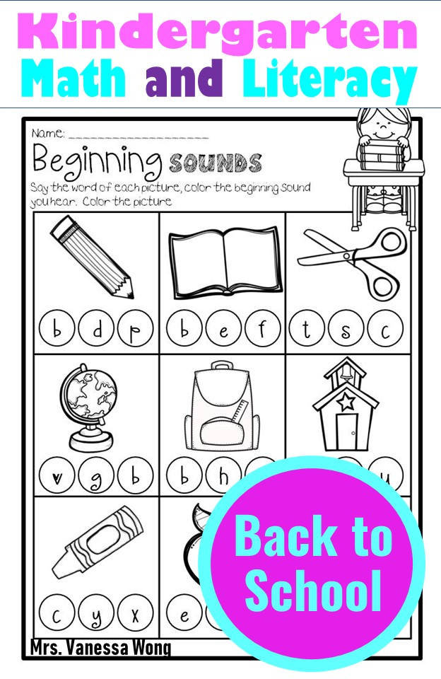 back to school kindergarten math and literacy worksheets and activities